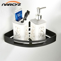 Wall mounted high quality 304 stainless steel black monolayer fan shaped bathroom corner toilet storage triangle basket 9110K