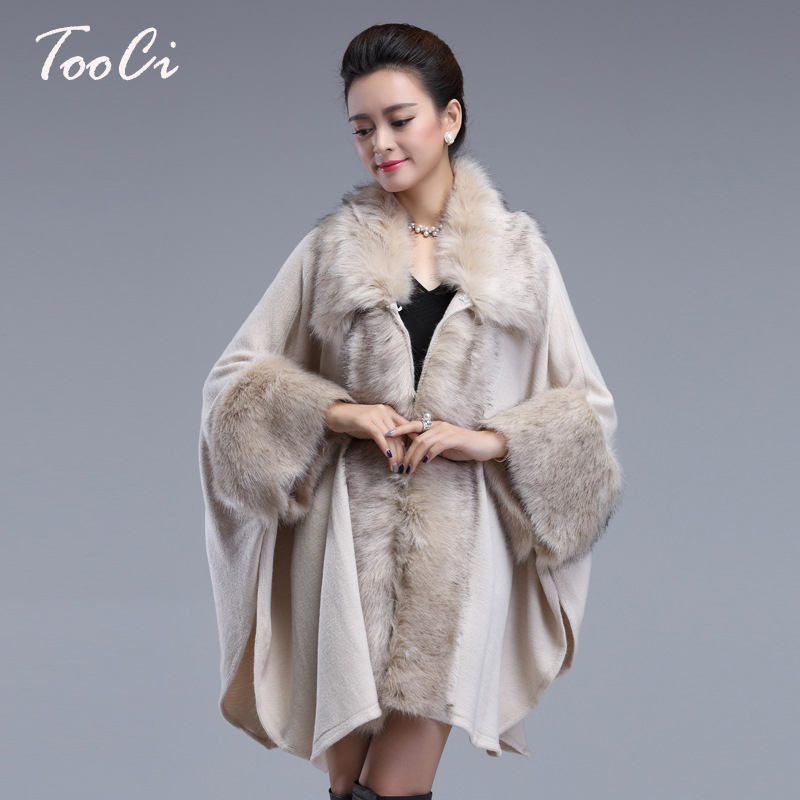 Spring Women s Beige Long Luxury Cardigans Fake Fox Fur Collar Cashmere Sweaters Shawl Knitted Cardigan