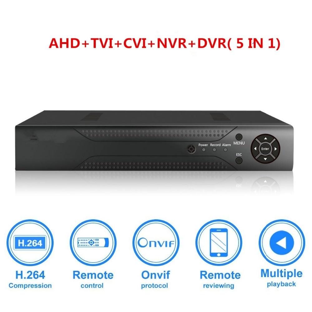 4CH 1080N CCTV DVR hibrid 5 az 1-ben H.264 megfigyelő videó rögzítő rendszer NEM Merevlemez (1080P NVR + 1080N AHD TVI CVI + 960H analóg)