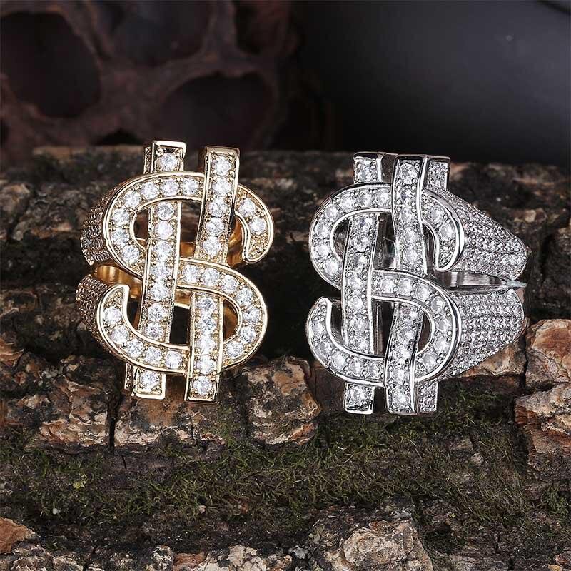 Bague en zircon cubique AAA avec breloque en or, signe creux en dollar, bague pour hommes hip hop