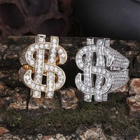 Ice out AAA cubic zirconia ring hollow dollar sign gold and silver charm hip hop men's ring
