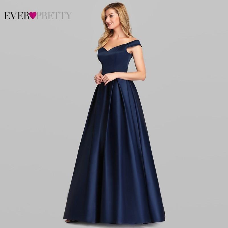 Navy Blue Satin Evening Dresses Ever Pretty EP07934NB A-Line V-Neck Elegant Formal Long Dresses Vestidos De Fiesta De Noche 2019