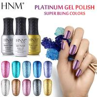 HNM 8ML Glitter Platinum UV Gel Nail Polish LED Varnish Enamel Semi Permanent For Nail Gel Art Stamping Gelpolish Base Top Coat