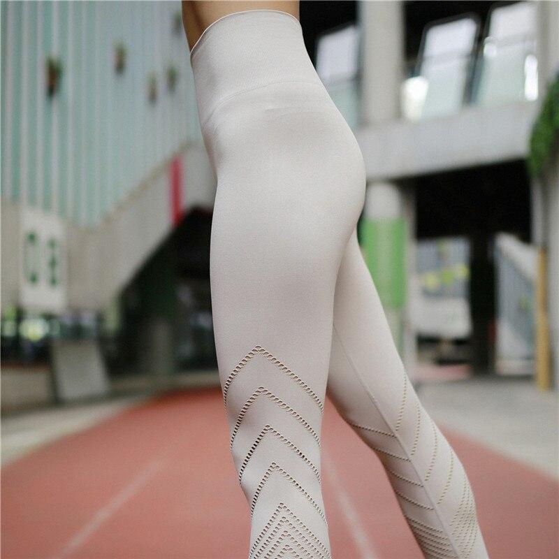6fc35e7d5 SVOKOR Leggings de mujer de cintura alta Slim Diagonal rayas hueco sin  costuras Leggings negros ...