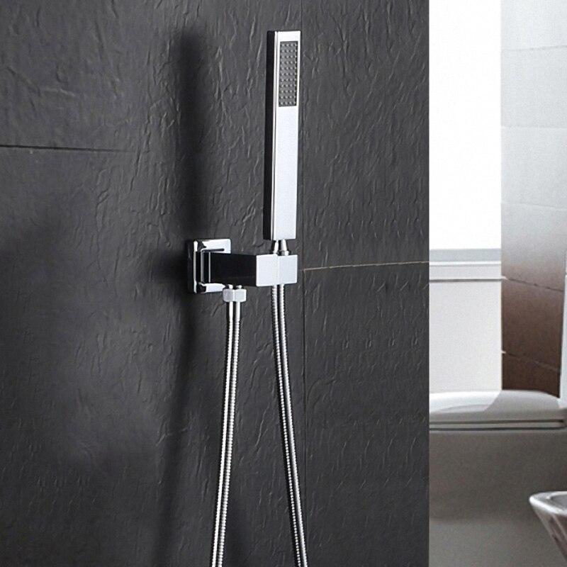 פליז באיכות גבוהה כרום כף יד מקלחת ראש עם כיכר קיר מחבר לשקע קיר רכוב אמבטיה מקלחת סט 03-030