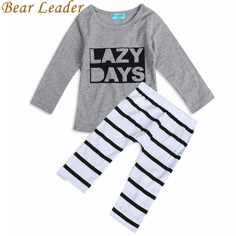 Bear Leader 2018 Spring Baby Baby Boys Clothing Sets Cotton Long-sleeved Letter T-shirt+Pants Newborn Baby Girls Clothing Sets