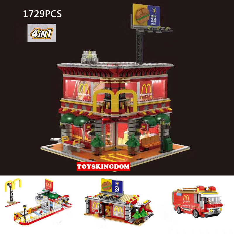 City Street View Ronald McDonalds Restaurant 4IN1 Wheels on Meals Figures Building Block with LED Light Figures Toys Collection hot city street view chinatown juxian restaurant moc building block rickshaw man fortuneteller figures bricks toys collection