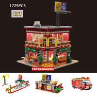 City Street View Ronald McDonalds Restaurant 4IN1 Wheels on Meals Figures Building Block with LED Light Figures Toys Collection