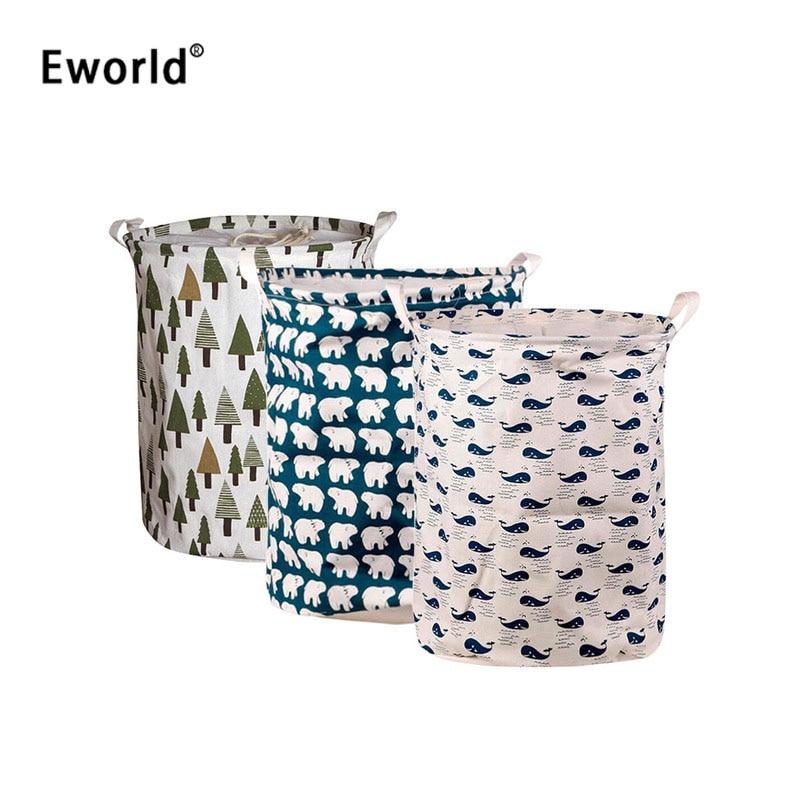Eworld Vogue Praktiška sulankstoma medvilninė drobė, atsparus vandeniui drobė, didelių spindulių skalbinių krepšelio žaislai.