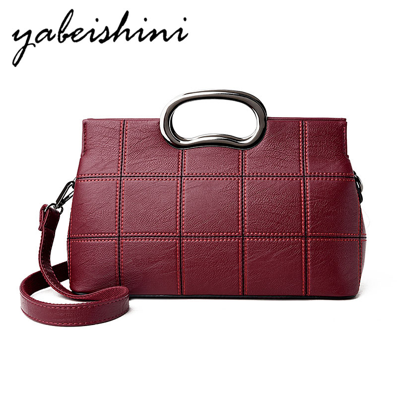 Fashion Leather Handbag High Quality Leather Shoulder Messenger Bag Lady Large Capacity Plaid Handbag Red Handbag Black / Purple