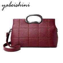 Fashion leather handbag high quality shoulder Messenger bag lady large capacity plaid red black / purple