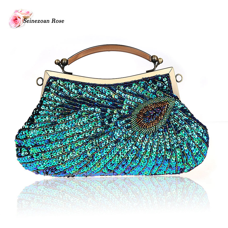 2016 vintage women beaded frame totes handbags purses sequined peacock evening party clutch bags small shoulder messenger bags
