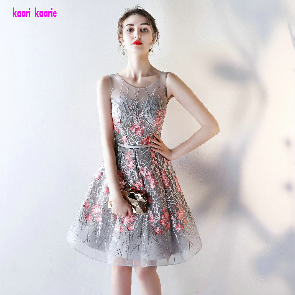 Advanced Silver Embroidery Prom Dresses Short 2018 Sexy