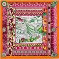 100 см * 100 см 100% Twill Шелковый Евро Марка Национальный ветер Дворец Потала Тибет Женщины Большой Размер Шелковый Качество шарф Платки 6121