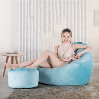 Soft Velvet Bean Bag Sofa Cover Lounger Chairs Sofa With Ottoman Set Lazy Seat Living Room Furniture Without Filler Beanbag Beds