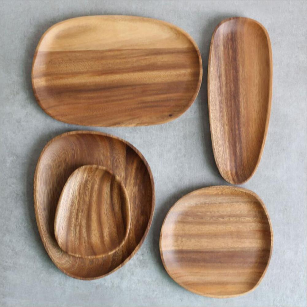 Storage Tray Display Plates Irregular Oval Solid Wood Food Pan Plate Fruit Dishes Pots Trays Base Stander Decor Home Decorations