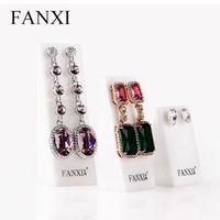 FANXI Free shipping wholesale Custom logo 6 set/lot white acrylic jewellery exhibitor stand for earrings shop display holder