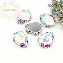 ¡Mejor venta! AB cristal gota de agua cristal con forma coser en diamantes de imitación con D-SHAPE garra boda Diy vestido y zapatos