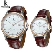 IK Women Dress Watches Luxury Lovers Couple Watches Men Date Couple Quartz Watches with Date Calendar Waterproof Wristwatch 4616