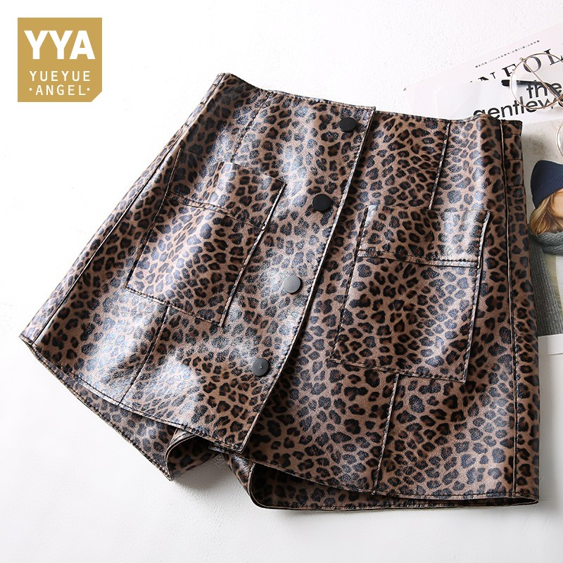 Spring Shorts Women Sheepskin Genuine Leather Shorts Black Brown Leopard Print High Waist Pocket Short Feminino Sexy Hot Shorts