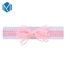 M MISM 1PC New Arrival Cute Newborn Lace Bow Tie Baby Headband Elastic Girls Princess Headband For Children Hair Accessories m mism new cute 3pcs lace butterfly baby headband fashion hair accessories for newborn wristband foot ring photography head wrap