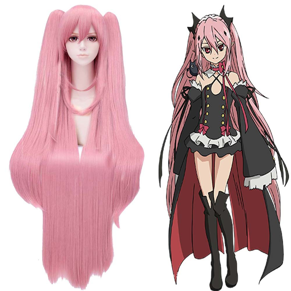 Japanese Anime Seraph of the end Krul Tepes Cosplay Wig For Women/Girls Halloween,Party,Stage,Play Hair 100cm High Quality hot sell free shipping seraph of the end krul tepes pink long clip ponytail cosplay party wig hair