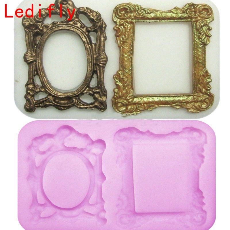 Ledifly 1 pieza 3D espejo Marcos silicona fondant molde pastel ...