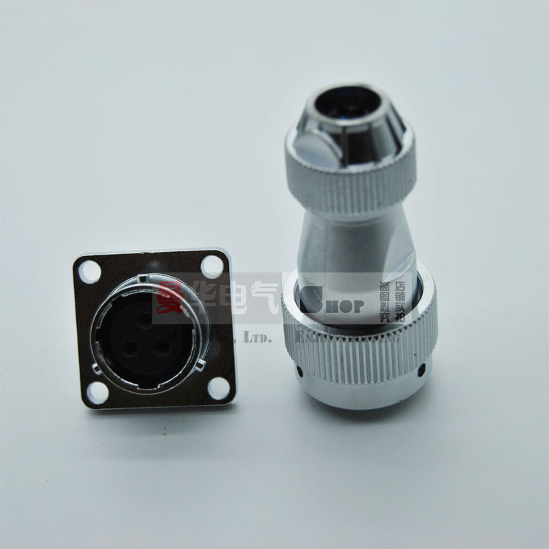 Aviation waterproof connector 16mm M16 2/3/4/5/7/9Pin square flange push-pull circular quick connection LED  Male-Female plug