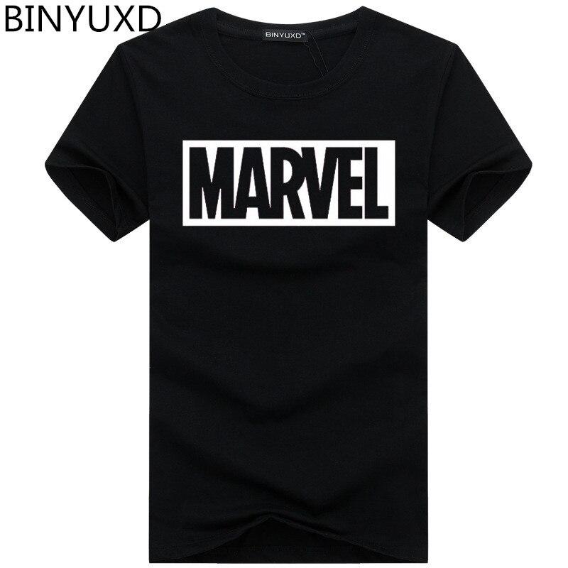 BINYUXD Tee Shirt Summer New Fashion MARVEL T-Shirt Men Cotton Short Sleeves Casual Male Tshirt Marvel T Shirts Men Tops Tees