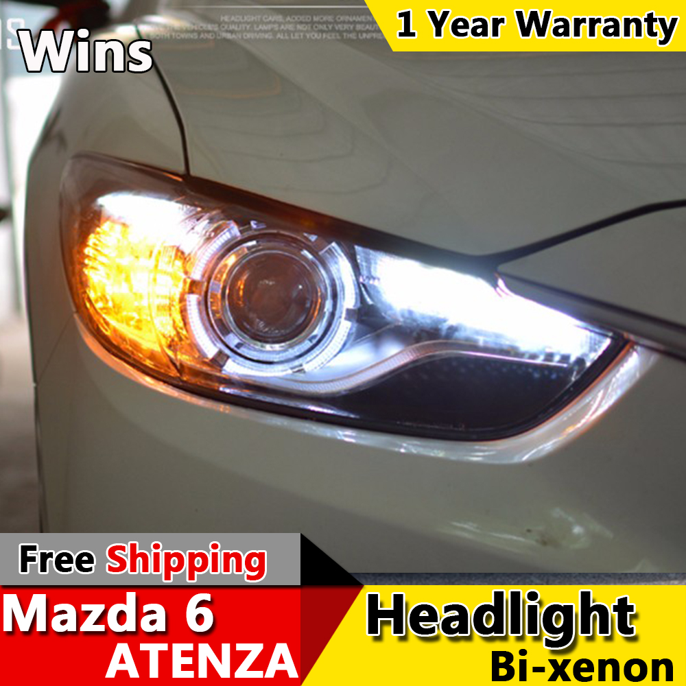 Wins lights for new mazda 6 led headlights drl lens double beam...