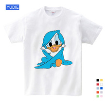 Holiday must short sleeve T shirts Duck Donald Mickey mouse cartoon childrens sportswear kids t-shirt dresses for girls