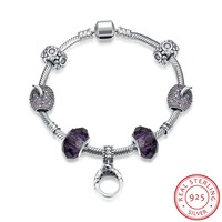 925 Sterling Silver Bracelets for Women 2016 High Quality Jewelry Vintage Glass Bead Bracelet Bangle Fit Charm Bracelet Femme