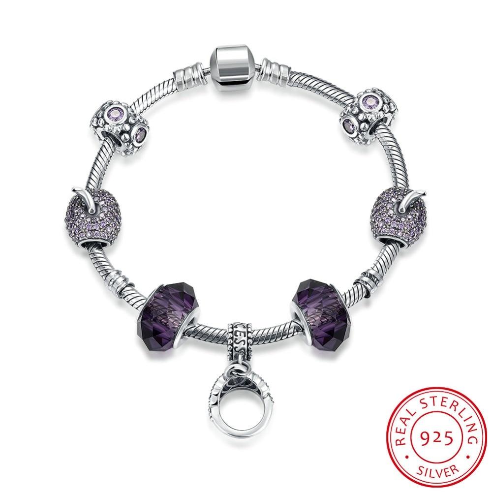 925 браслеты стерлингового серебра для женщин высокое качество, поступления 2016 г. Jewelry Винтаж Стекло бусина, жесткий Браслет Fit Браслет Femme
