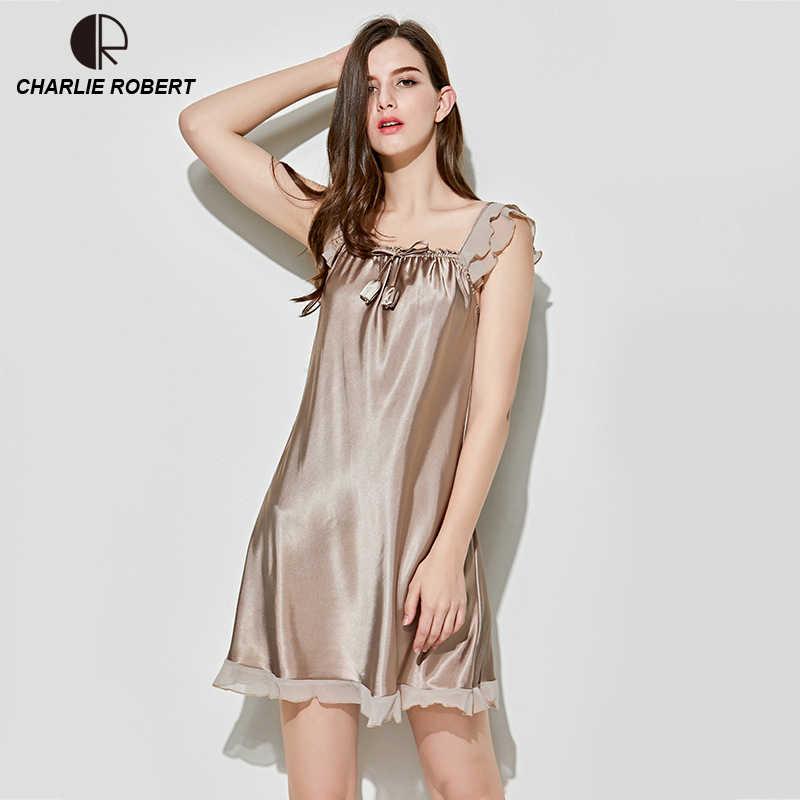 99b36076c New Women s Sexy Lingerie Satin Silk Night Dress Plus Size Sleepwear Lace  Nightgown Elegant Summer Dress