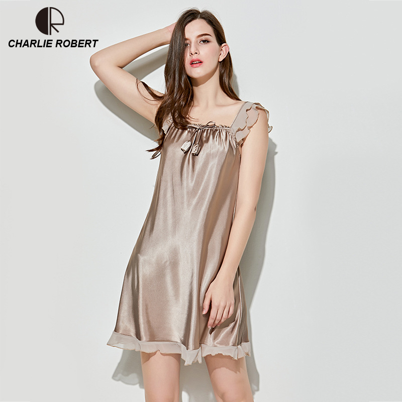 84a8191f67 New Women s Sexy Lingerie Satin Silk Night Dress Plus Size Sleepwear Lace Nightgown  Elegant Summer Dress Drop Shipping