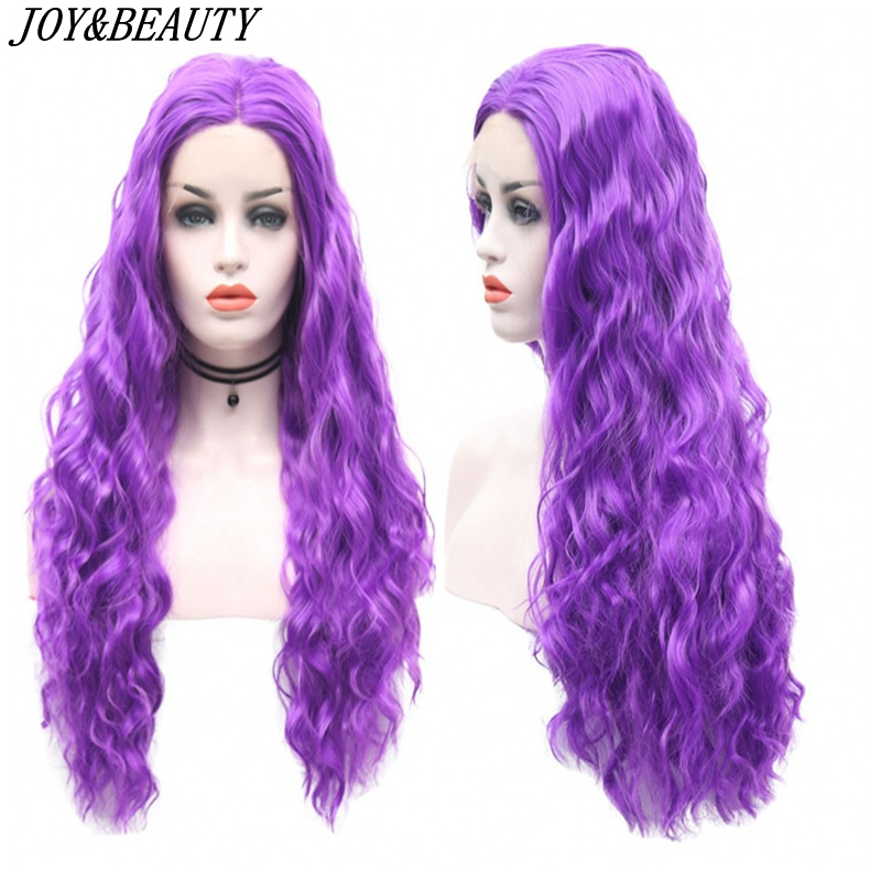 JOY BEAUTY Synthetic Lace Front Wig Purple Beauty Long Wave Lace Wig High Temperature Fiber Lace Front Wigs For Women Wigs in Synthetic Lace Wigs from Hair Extensions Wigs