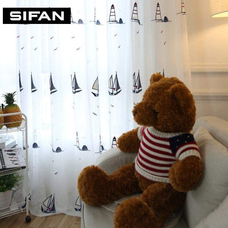 Pola Berlayar Biru Gaya Mediterania untuk Kamar Tidur Tirai untuk - Tekstil rumah