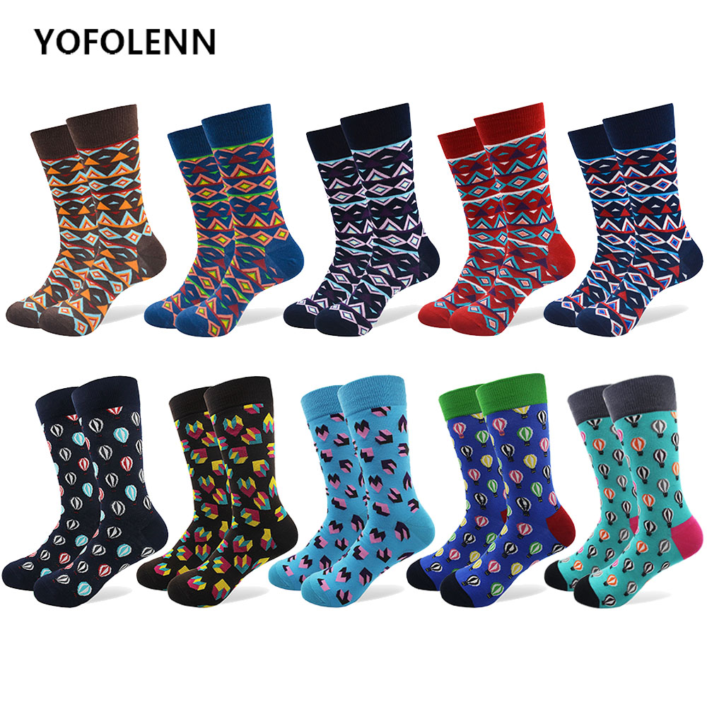 10 Pairs/lot Combed Cotton Happy Funny Socks Geometry Style and Hot Air Balloon Pattern Dress Casual Crew Socks for Man