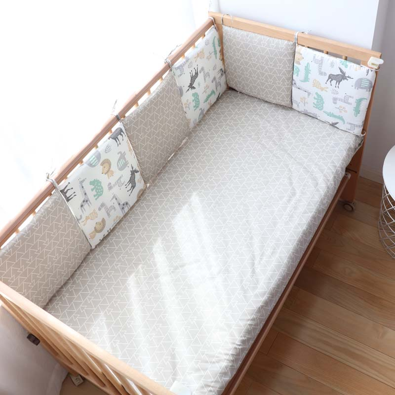 Baby Bumpers In The Crib For Newborns Nordic Cute Cartoon Pattern Crib Protector For Kids Baby Room Decoration 30x30cm 6Pcs Lot