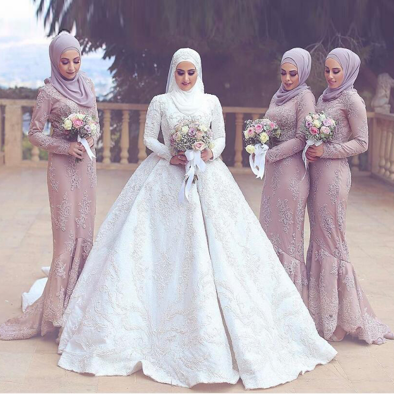 dusty pink muslim bridesmaid dresses modest mermaid formal party gowns long sleeves high neck. Black Bedroom Furniture Sets. Home Design Ideas