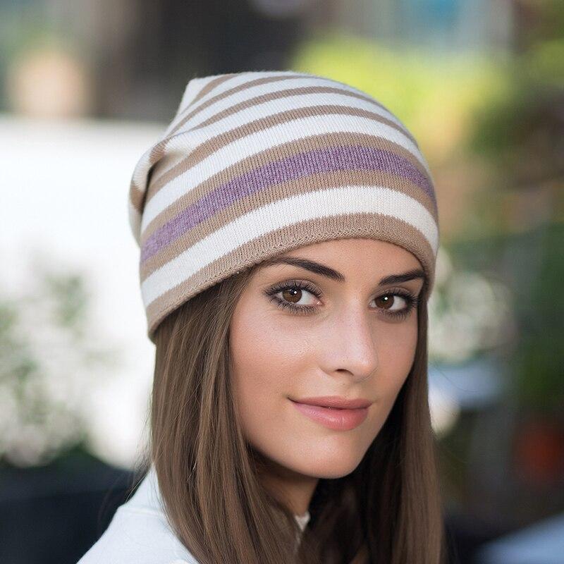 Tanworders Autumn Winter Beanies Hats For Women Wool Knitted Stripe Skullies Hat Masks Gorro Lana
