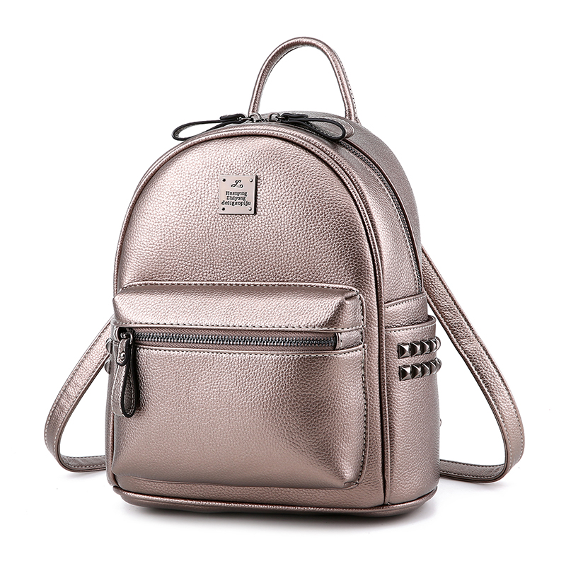 UNstyle Casual Fresh Preppy Style Students Backpacks Fashion Leisure Zipper Rivets Travel Backpacks Simple Shoulder Bags BP056