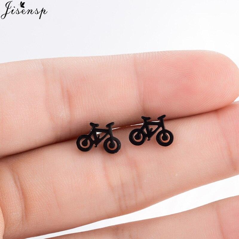 Jisensp Cute Tiny Bike Bicycle Earrings For Women Best Friend Gifts Ear Jewelry Fashion Black Color Fitness Sport Stud Earrings