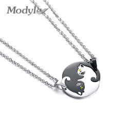 Modyle 2018 New Fashion Cute His and Her Couples Necklaces 316L Stainless Steel Beloved Pet Cat Pendant Necklace for Woman(China)