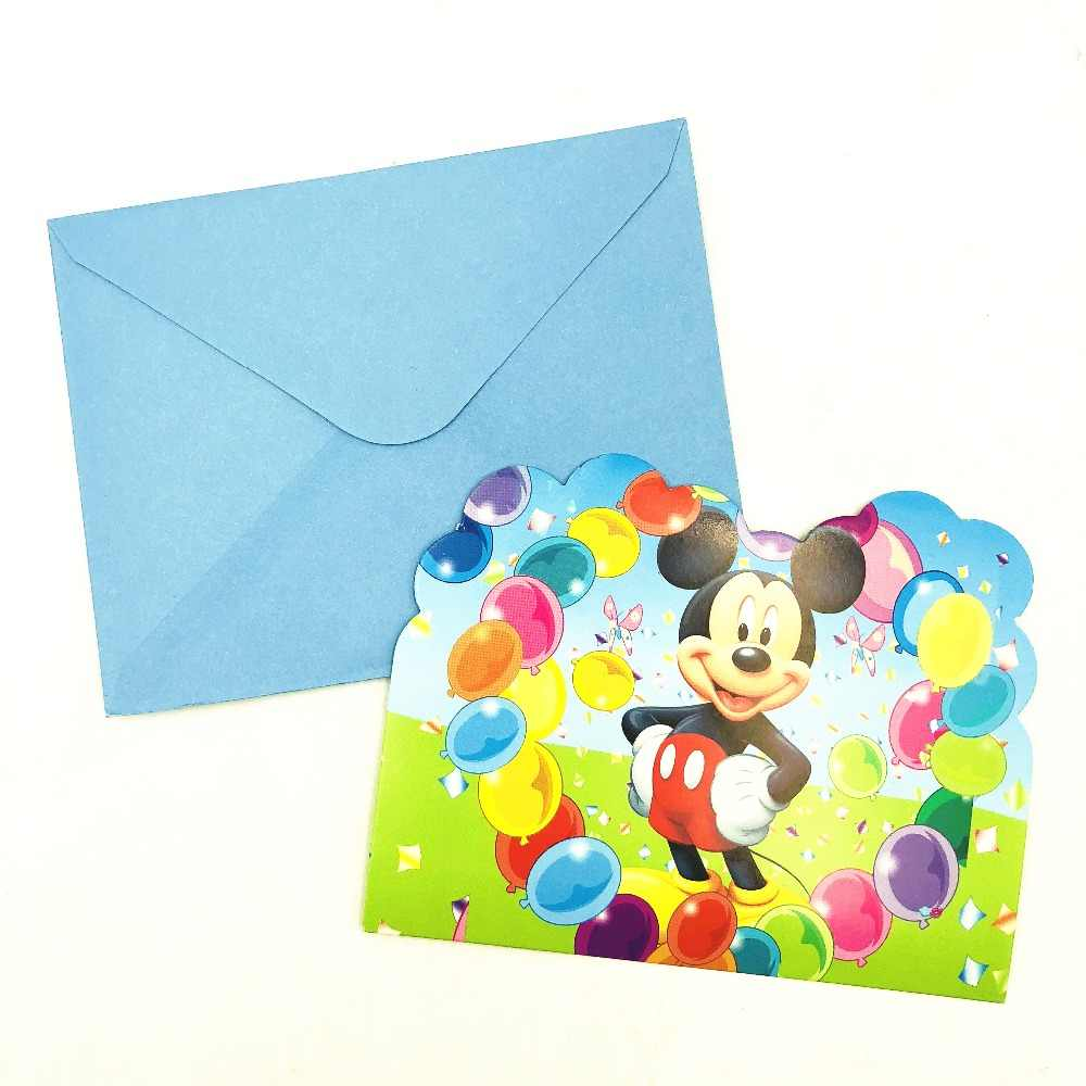 6pcs Kids Invitations Ideas Princess Moana Minions Sipderman