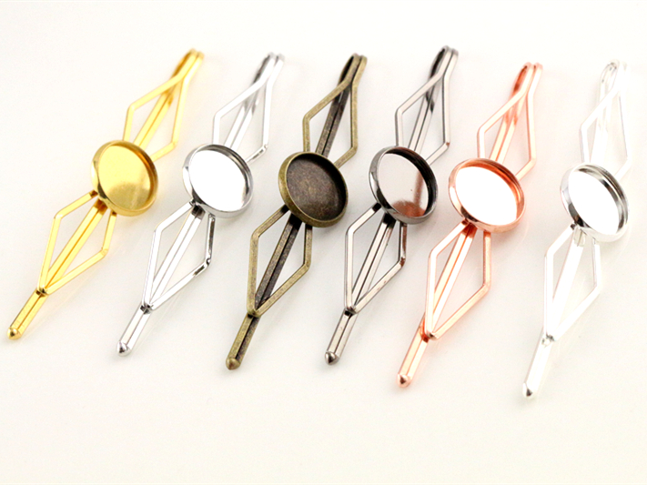 New Style 12mm 10pcs High Quality 6 Colors Plated Copper Material Hairpin Hair Clips Hairpin Base Setting Cabochon Cameo  Base