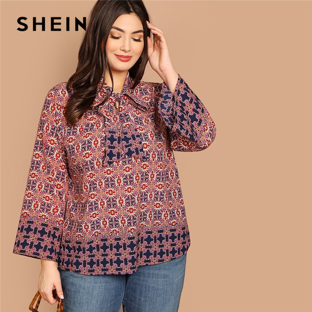 d16436d0d0 SHEIN Plus Size Geo Print Bow Tie Neck Flounce Sleeve Women Boho Blouses  2019 Spring Multicolor Bohemian Casual Tops Clothing