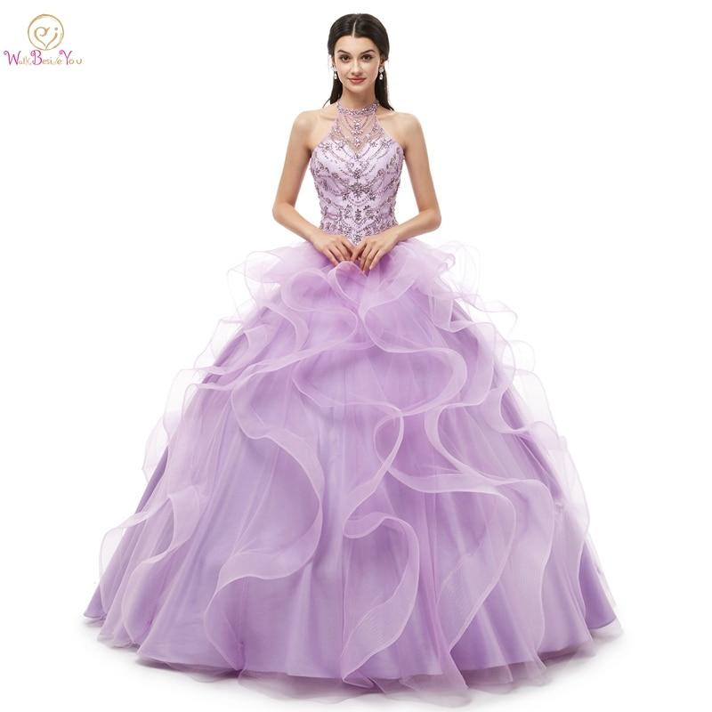 277902cef6eb7 vestido de 15 anos de debutante 2019 Quinceanera Dresses Ball Gown Lilac  Tulle Ruffles Halter Beading Crystal Floor Length Party