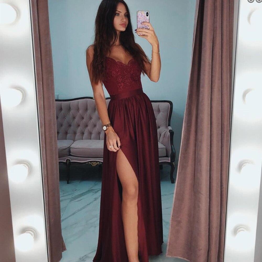Sexy manches longues robes de bal 2019 bordeaux col en v dentelle a-ligne jambe fente en mousseline de soie hiver automne bal longue robe élégante
