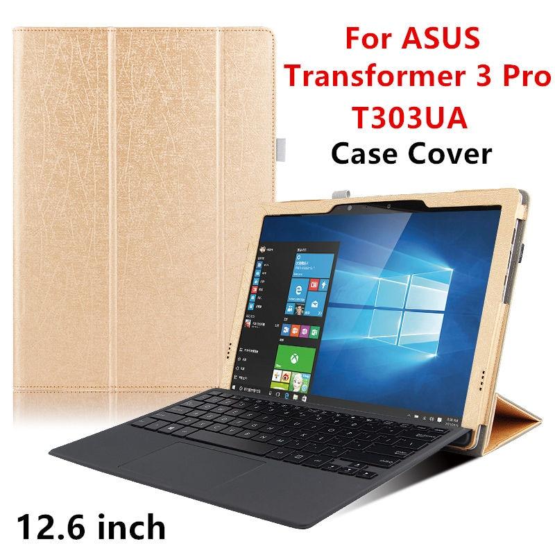 Prix pour Case PU Pour ASUS Transformer 3 Pro Protecteur Smart cover en cuir Tablet Pour asus T303UA 12.6 pouce Manchon De Protection Ceses couvre